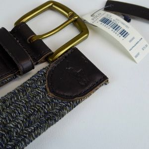 Polo Ralph Lauren Woven Fabric & Leather Belt NWT